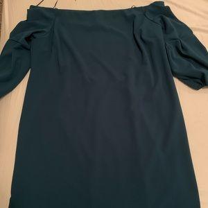 Plus size green off the shoulder dress!